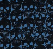 Michael Miller Gothic Black Numb Skulls on Blue Cotton Fabric - FQ