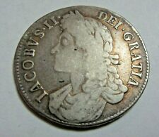 More details for 1687 king james ii sterling silver crown tertio edge rim weight 29.43 grams *