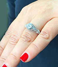 Engagement Ring 14k Solid White Gold 1.65 Carat Round Cut Moissanite and Diamond