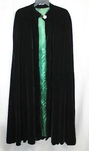 Vtg Velvet Cloak Full Length Gorgeous Plush Satin Lined Cape Unisex Long Black