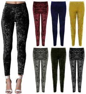 New Women's Sexy Crushed Velvet Velour Elasticated Leggings Plus Size UK 12-26