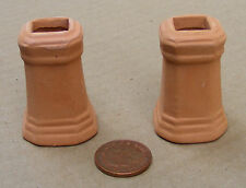 1:12 Square Terracotta Chimney Pots (2) Dolls House Miniature Accessory 658