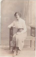 VINTAGE POSTCARD PRETTY LADY EDWARDIAN DRESS FASHION COSTUME SPECTACLES RP