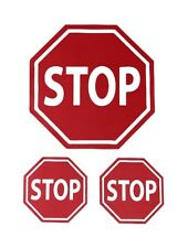 Stop Road Sign Fabric Removal & Re-positional Decal Stickers for Car Set of 3