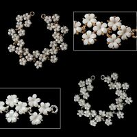 Sew on Applique White Flower Stone Gold/Silver Motif Patch Embellishment 6cmx2cm