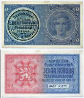 BOHEMIA & MORAVIA 1 KORUN 1939 P 1 AUNC LITTLE TONE