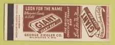 Matchbook Cover - Giant Candy Bar George Ziegler Milwaukee WI