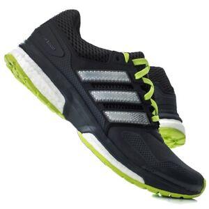 Adidas Men's Size 9 Response Boost 2 TechFit Running Shoes Black/Green 3-Stripe