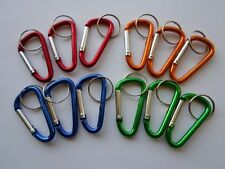 12 Carabiner Clips ~ Spring Belt Snap Keychain ~ Red, Blue, Green, Gold **