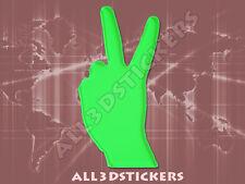 Pegatina Simbolo Victoria 3D Relieve - Color Verde Electrico