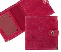 Hot Pink Suede UK Drivers Licence and Insurance Cover Holder Protector Case NEW