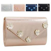 Ladies Stylish Pearl Flower Envelope Clutch Bag Evening Floral Handbag KZ2284