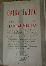 PNF ONB OPERA BALILLA ATTESTATO CROCE AL MERITO PICCOLA ITALIANA 1930 att6