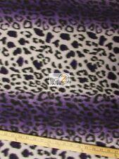 """LEOPARD PRINT POLAR FLEECE FABRIC - Purple - 60"""" WIDTH SOLD BY THE YARD 20"""