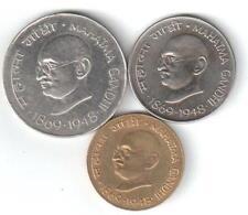 REP. INDIA -1969 'S GANDHI'S 1 RUPEE, 50 PAISE & 20 PAISE COINS ..3 COINS SET