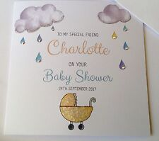 Sparkly Personalised Baby Shower Card for the Mum to be Daughter, Friend, Sister