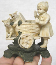Vintage Figurine St Patricks Bisque Germany Girl Pushes Cart with Pigs 1920s-30s