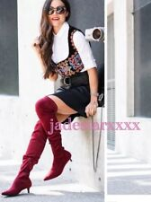 Burgundy Zara Red Over The Knee Boots 4 37 New BNWT