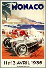 Monaco Grand Prix 1936 Car Racing Vintage Poster Print Retro Style Art Decor
