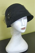Ladies Vintage L@@K Black Felt 57 Formal Racing Wedding Winter Cloche Derby Hat