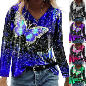 Womens Tee Autumn Long Sleeve Ombre T Shirt Pullover Blouse Ladies Holiday Tops