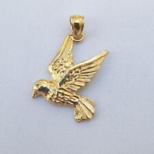 14k Yellow Gold DOVE BIRD Pendant / Charm, Made in USA