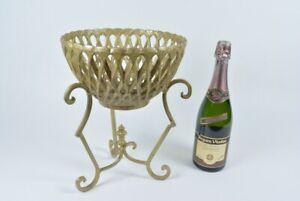 """VTG Planter Jardiniere Gold Brass Cast Metal Stand Basket Weave 13"""" Garden Plant"""