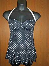 Chaps Women's Swimsuit Black With White Dots Halter Top Skirt Bottom Size 12