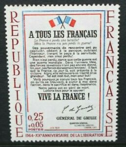 FRANCE 1964 20th Anniversary of Liberation. Set of 1. Mint Never Hinged. SG1658.