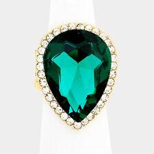 Cocktail Ring Stretch Dehnbar Kristall Klar Tropfen Smaragd Grün 2,8 cm lang