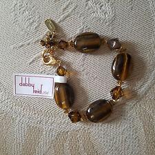"""DABBY REID """"Ronnie Mae"""" Swarovski crystal bracelet ~ TIGERS EYE ~ NEW!"""