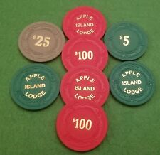 Vintage Apple Island Lodge Casino Assorted Poker Chips 4 $100 3 $5 1 $25 RARE