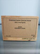 "Genuine Green Jade Bear Hand Carved Cassiar Polar Bear & Fish 3""L with Coa"