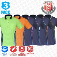 3x HI VIS POLO Shirts NEW PIPING PANEL WORK WEAR COOL DRY SHORT SLEEVE