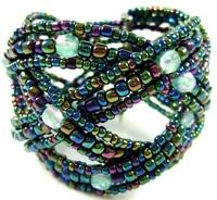 Seed Beads Memory Wire Cuff Bracelet 6 to 8 inch adjustable Women Jewelry CA058