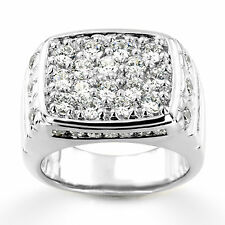 Real Certified 2.68ct Diamond Wedding Mens Rings 14K White Gold Size R U W