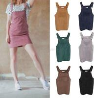 Women Corduroy Suspender Skirt Retro Sundress Overall Vest Casual Jumpsuit Dress