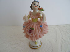 EXQUISITE VTG DRESDEN PORCELAIN LACE FIGURINE BALLERINA DANCER - GERMANY / MINT