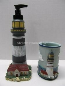 Designer Nautical 2 pc Bath Set COASTAL BREEZE LIGHTHOUSE Soap/ Lotion & Tumbler
