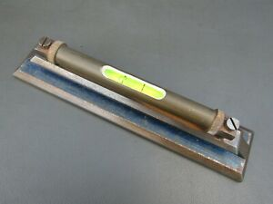 "Vintage brass & cast iron 8 3/4"" engineers machinists spirit level tool"
