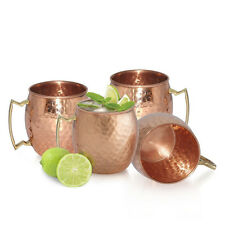 4 Hammered Moscow Mule Mug Drinking Cup 100% Pure Solid Copper Brass Set 16 Oz