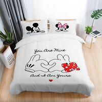 3D Disney Bedding Set Mickey Mouse and Minnie Love Hand Duvet Cover Pillowcase