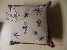 Pincushion Primitive Felt Pin Cushion Pin Keep USA Handmade-EMBROIDERY SNOWFLAKE