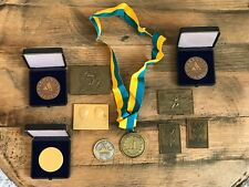 Job Lot of Swedish Medals Awards Stockholm Sweden Badminton Athletics Sport 80's