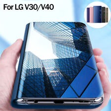 Mirror Case for LG V30 V40 Shockproof Clear View Flip Leather Wallet Stand Cover