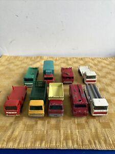 9x Lesney Matchbox Lot Pipe Truck Stake Grit Spreading Land Rover Girder