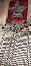 Lot Christmas Decor 65ft. Silver  Beaded Garland, Lighted Tree Star, Glass Balls