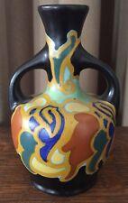 "Regina Argos Gouda Miniature 4 1/2"" Urn Vase w/ Handles Matte Black Gold Cobalt"