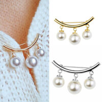 Fashion Pearl Fixed Strap Charm Safety Pin Brooch Sweater Cardigan Clip ChaiCRIT
