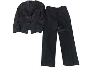 Ann Taylor Black Virgin Wool Womens 2 Piece Pant Set Suit Size 6P / 6 P